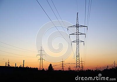 Landscape with high-voltage line