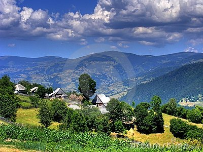landscape of hills and sky-romania