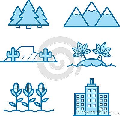 Landscape Icon Designs Stock Vector Image 64777547