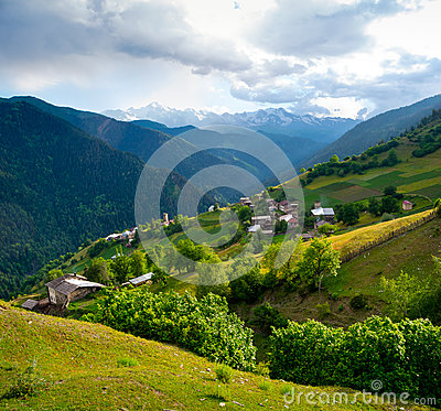 Landscape of Ieli village in Svaneti