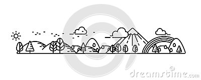 Landscape illustrate line Vector Illustration