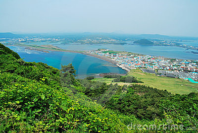 Landscape of Jeju island from Sunrise Peak