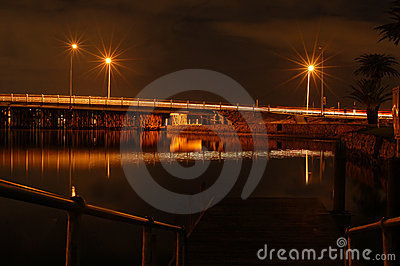 Landscape of jetty and pier at night