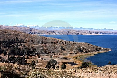 Landscape at lake titicaca