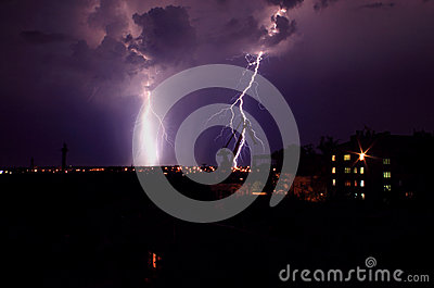 Landscape with lightning