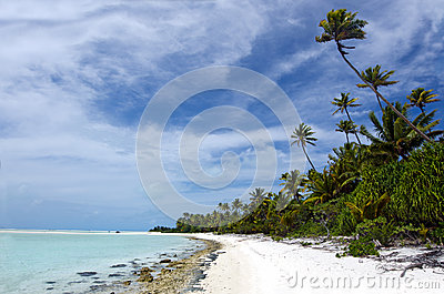 Landscape of of Maina Island in Aitutaki Lagoon Cook Islands