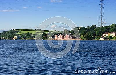 Landscape with mansion near sea shore