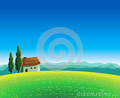 Landscape with meadow and house