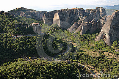 Landscape Of Meteora Rocks And Monastery