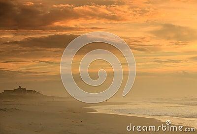 Misty Morning Seashore Cloudy Sky Hatteras NC