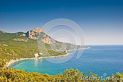 Landscape with a mountain in the sea crimea ukraine