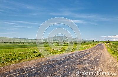 Landscape of mountains, roads