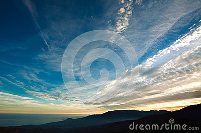 Landscape nature background, clouds in evening sky