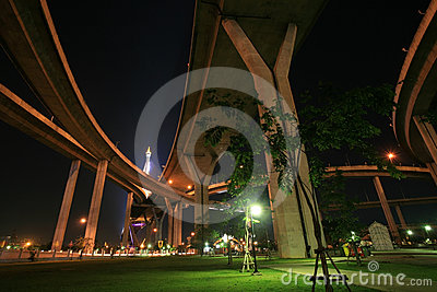 Landscape of night park under Bhumibol bridge