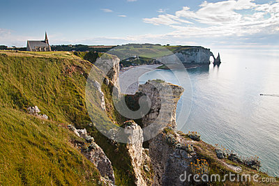 Landscape of the Normandy coast in France
