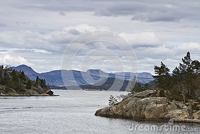 Landscape in norway with islands
