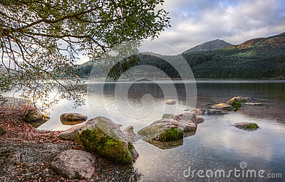 Landscape over Llyn Cwellyn in Snowdonia