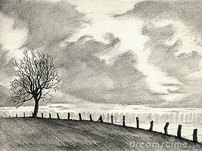 Landscape Pencil Drawing Royalty Free Stock Images Image