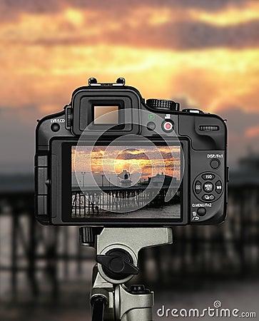 Free Landscape Photographer Sunset Camera Royalty Free Stock Image - 28384086