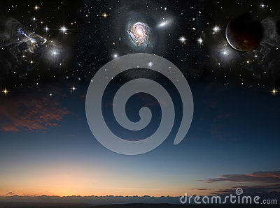 Landscape with planets in night sky