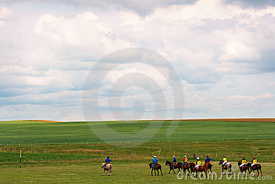 Landscape with Polo players in Alberta, Canada