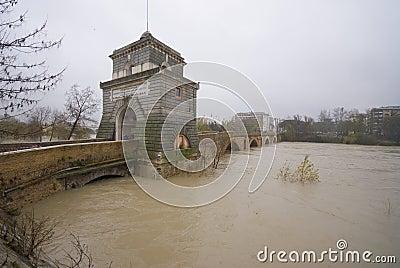 Landscape of Ponte Milvio in the Flood Editorial Image