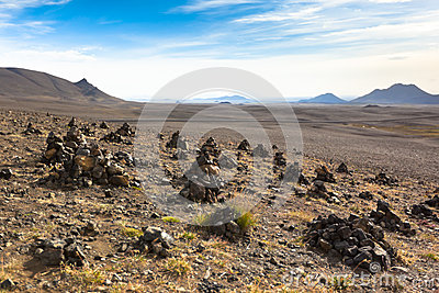 Landscape with Pyramids from stones, Iceland.