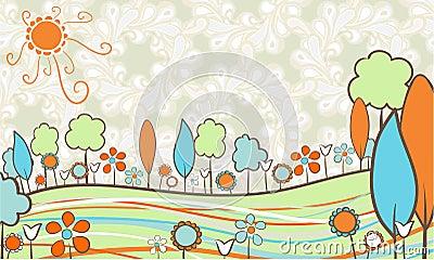 Landscape in retro colors