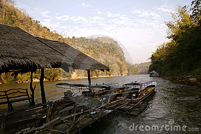 Landscape of the river and mountains in Thailand