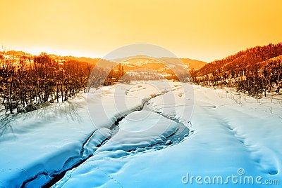 Landscape with river and snow