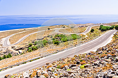 Landscape, road and sea at south side of Crete island