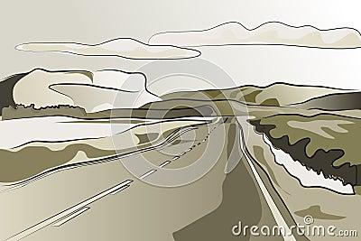 Landscape road vector illustration