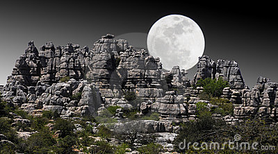 Landscape of rocky mountains with moonlight