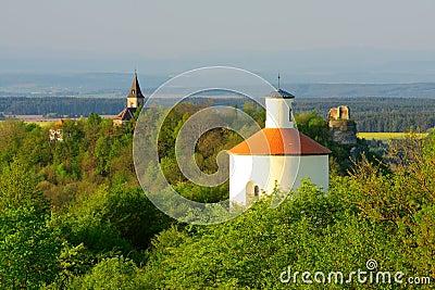 Landscape with rotunda and castle ruin
