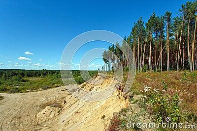 Landscape with sandy quarry