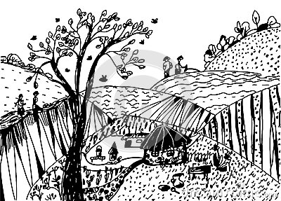 Landscape sketch with people