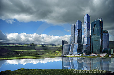 Landscape of skyscrapers in the open field