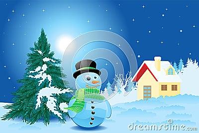 Landscape with snowman