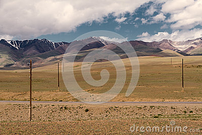 Altai landscape: steppe mountains road