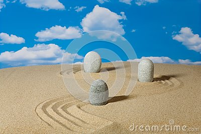 Landscape with stones on sky