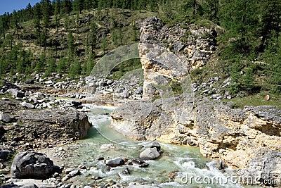 Landscape.Stream of mountain river.Siberia,Russia.
