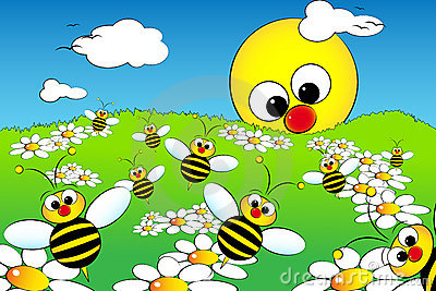 Landscape with sun and bees - Kid illustration