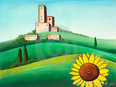 Landscape and sunflower