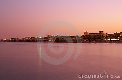 Landscape sunset on Red Sea - pink water, sky