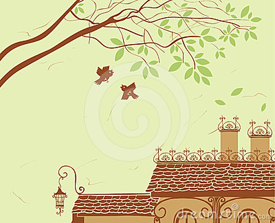Landscape with tiled roof