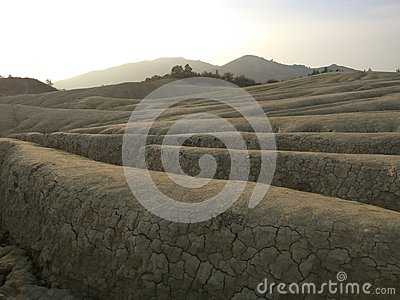 Landscape view with crevasses near muddy volcanoes Stock Photo