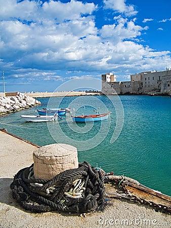 Landscape view of Giovinazzo touristic port. Apuli