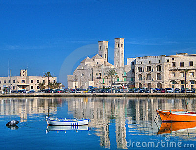 Landscape view of Molfetta touristic port. Apulia.