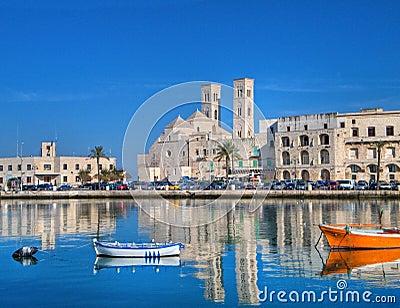 Landscape view of Molfetta touristic port. Apulia.