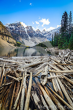 Free Landscape View Of Moraine Lake And Mountais In Canadian Rockies Stock Images - 49667674